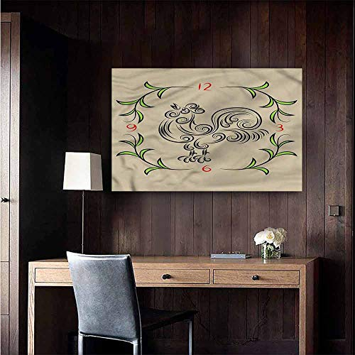 Michaeal Wall Mural Wallpaper Stickers Animal Floral Swirls Rooster Clock Mural Blackboard DIY White Size : W28 x H20 ()