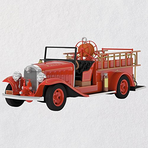 Hallmark Keepsake Christmas Ornament 2018 Year Dated, Fire Truck Brigade 1932 Buick Fire Engine With Light