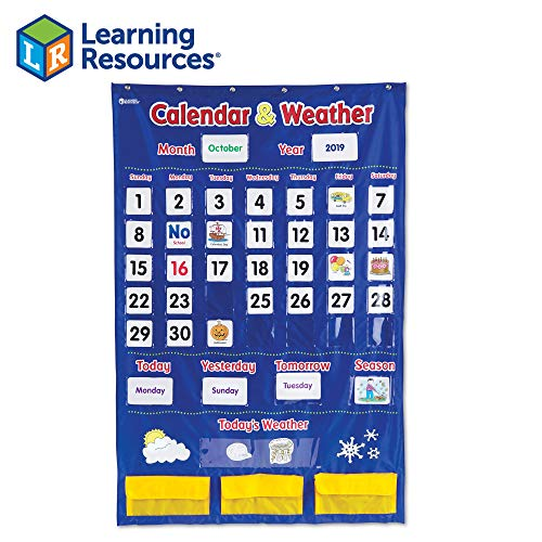 Learning Resources Calendar & Weather Pocket Chart, Classroom Organization, 136 Piece (Pocket Chart Weather Cards)