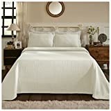 Superior 100% Cotton Medallion Bedspread Shams, All-Season Premium Cotton Matelassé Jacquard Bedding, Quilted-Look Floral Medallion Pattern - Queen, Ivory