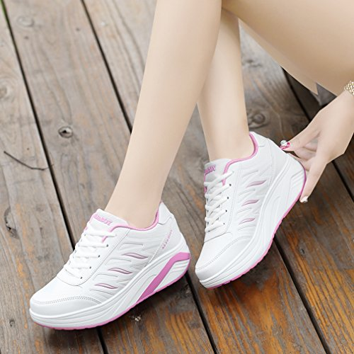 Sports Wedges Mesh Leather Platform Shoes Up Lace White Walking Sneakers amp; 3 Orlancy Womens vwq0YS