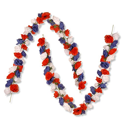 National Tree Set of 2 6 Foot Patriotic Garland with Red, White and Blue Roses (RAP-528501G-1)