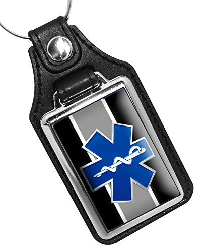 (BrotherhoodKey Rings Faux Leather Key Tag With EMS Star of Life Graphic)