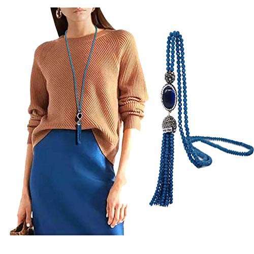 (Kasima Luxurious Agate Pendant Handmade Crystal Beads Long Chian Necklace Bohemia Winter Sweater Tassel Necklace)