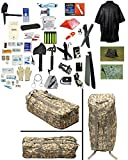 2 Person Supply 1 Day Emergency Bug Out SOS Food Rations, Drinking Water, LifeStraw Personal Water Filter, First Aid Kit, Tent, Blanket, ACU Duffel Bag, Poncho + Essential 21 Piece Survival Gear Set