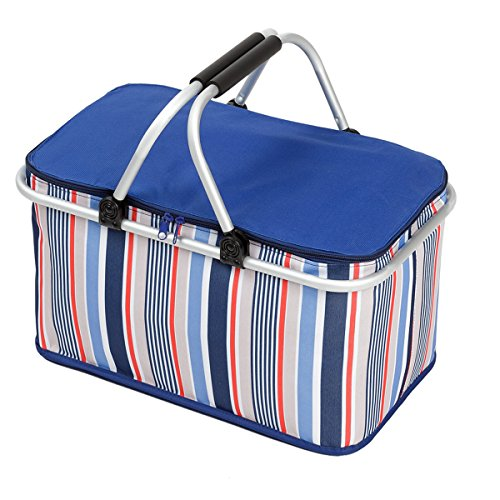 WISHPOOL Oxford Cloth Insulated Lunch Bag Reusable Collapsible Cooler Tote Box for Picnic Hiking (Bule1) by WISHPOOL