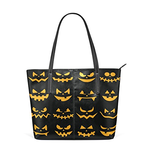 Coosun Scary Halloween Orange Kürbis Gesichter PU Leder Schultertasche Handtasche und Handtaschen Tasche für Frauen