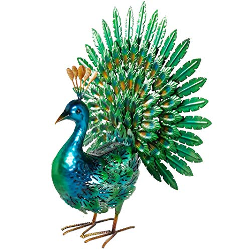 Chisheen Solar Peacock Statue Metal Yart Art with Solar Light Outdoor Garden Statues and Sculpture (Metal Garden Sculpture)