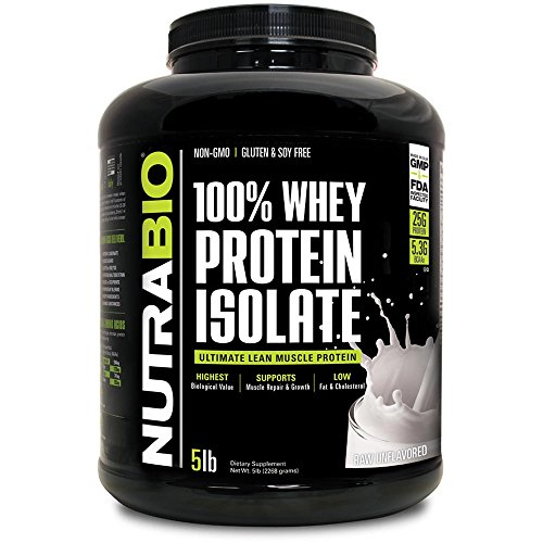 Bio Whey Protein Pure - NutraBio 100% Whey Protein Isolate (Unflavored, 5 Pounds)