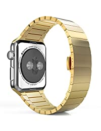 Apple Watch Band, MoKo Stainless Steel Replacement Smart Watch Band Wrist Strap Bracelet with Butterfly Buckle Clasp for 42mm Apple Watch All Models - GOLD (Not Fit iWatch 38mm Version 2015)
