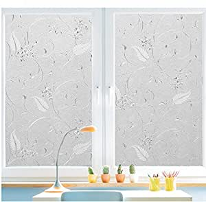 """Bloss Static Cling Non-adhesive Window Film Frosted Glass Film Bathroom Door Glass Decoration Window Film Privacy Covering (17.7""""x 78.7"""" 1 Roll)"""