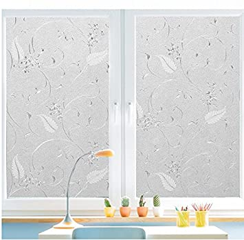 Bloss Static Cling Non Adhesive Window Film Frosted Glass Film Bathroom  Door Glass Decoration Window