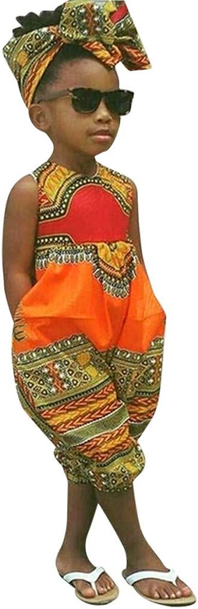 Mono y Diadema de Estilo Africano para bebé niñas, Mono sin Mangas Bebes niños niñas Pantalones Bodies Peleles de una Pieza Naranja 100: Amazon.es: Ropa y accesorios