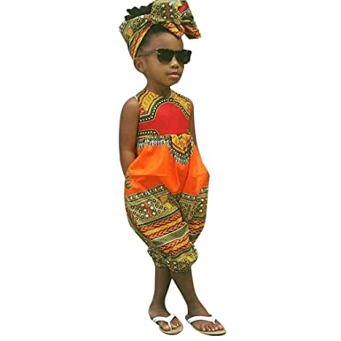 1dc96d26934 Amazon.com  2PCs Toddler Baby Girl Sleeveless African Print Romper Jumpsuit  Headband for 2-7 Years Kids Clothes Outfits  Clothing