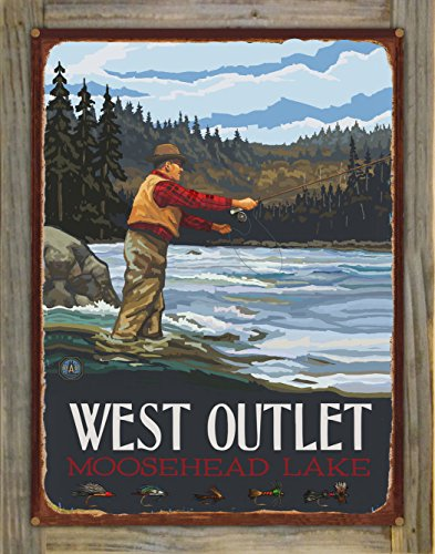 West Outlet Moosehead Lake Maine Fly Fisherman Stream Hills Rustic Metal Print on Reclaimed Barn Wood by Paul A. Lanquist (18