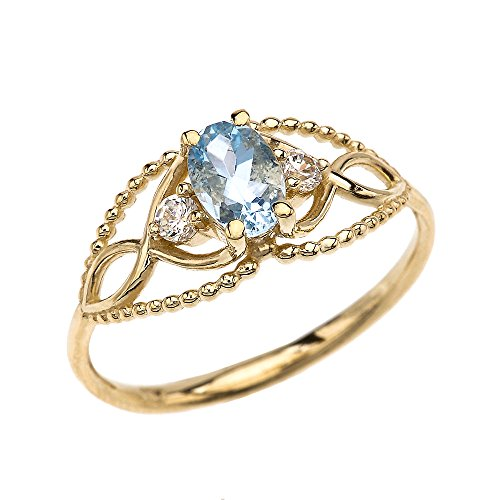 10k Yellow Gold Elegant Beaded Solitaire Ring with Solitaire Aquamarine and White Topaz
