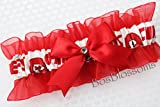 Customizable - Kansas City KC Chiefs white fabric handmade into keepsake garter on red organza bridal prom wedding garter with bow wks