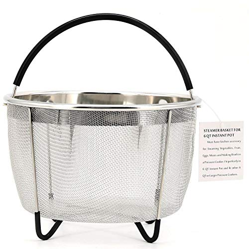 Bonison Stainless Steel Steamer Basket for Instant Pot, with Silicone Wrapped Handle, Custom Fit for 5/6 QT or 8 QT InstaPot Pressure Cooker. Perfect for Steam Egg, Meat, Veggie. (6 QT) (Egg Steam)