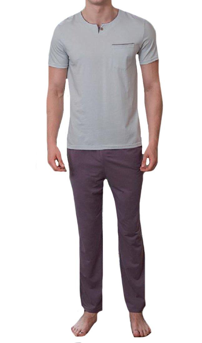 Winwinus Men Classic Fine Cotton Spring Summer Homewear Sleepwear Set Purple S