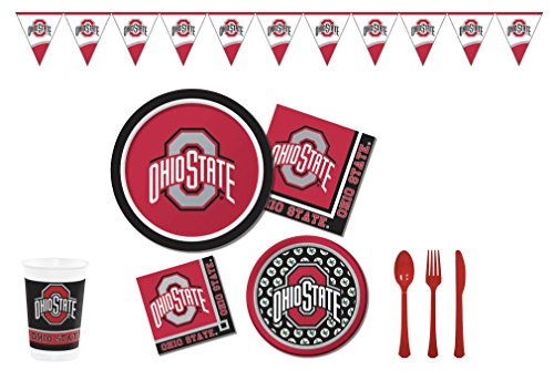 Official Ohio State University Buckeyes Tailgate/Celebration Bundle (Serves 8): Dinner & Dessert/Snack Plates, Beverage & Lunch Napkins, Banner, Plastic Cups and Cutlery 103 pcs