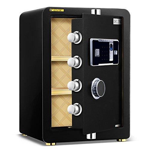 Ainfox Digital Security Safe Box, 2 Cubic FeetCabinets Fingerprint Biometric Wall Safe Lock Box Cash Strongbox with Number Keys Emergency Lock by Ainfox (Image #3)
