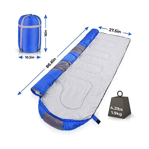 Sleeping Bag - Lightweight, Waterproof, Compact with Compression Sack - For Adults, Kids and Boys - Great for 4 Season Traveling, Backpacking, Hiking, Outdoor - Best Camping Gear and Equipment (New) 5
