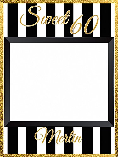 Custom Gold Trim Sweet 60 Birthday Party Photo Booth Prop - sizes 36x24, 48x36; Personalized Sweet 16 Photo booth Golden Birthday Party Home Decorations, Handmade Party Supply Photo Booth Frame