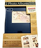2-Pack Bonded Leather Photo Album Holds 300 Photos Each, Navy Blue