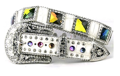 DH AB Volcano Crystal Rhinestone Leather Western Belt White (M/L)