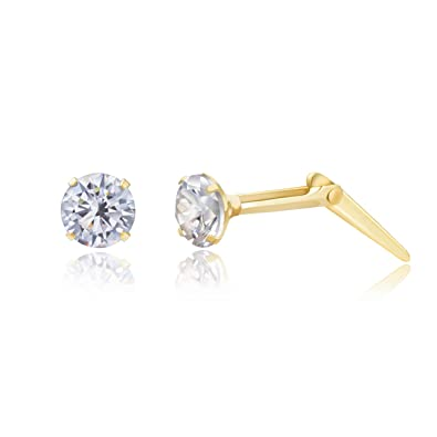 9ct yellow gold 5mm white cubic zirconia cz Andralok stud earrings / gift box adXvpEGzCF