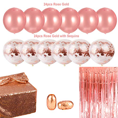 CGBOOM Wedding Party Decoration Set, 52 Pack Rose Gold Bachelorette Decorations Suppliers, Including 48 pcs Balloons, 2 Roll Foil Ribbon, 1 pc Foil Fringe Curtain and Sequin Table Runner