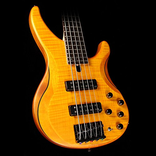 Yamaha TRBX605 5-String Flamed Maple Bass Guitar, Matte (Amber Bass)