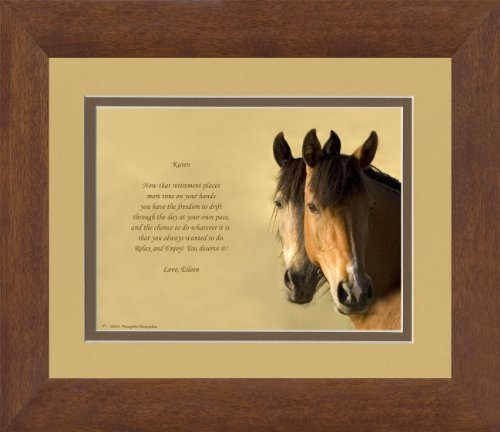 Framed Personalized Retirement Gift. Horses Photo with Retiree Best Wishes Poem, 8x10 Double Matted. Unique Retiring Gift for men, women, coworkers, friends or family retirees.
