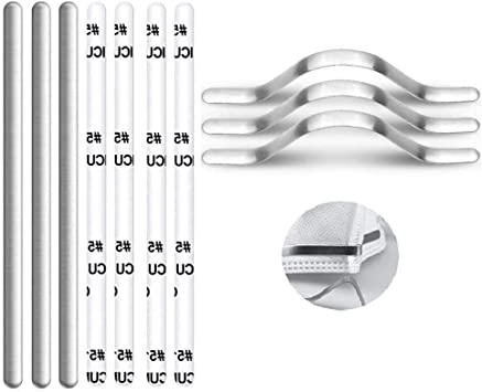 Aluminum Strips Nose Wire Stick Directly Aluminum Sheet Nose Bridge for Mask Metal Nose Clips Nose Bridge Flat Clinging Metal Bracket DIY Wire for Sewing Crafts 400pcs-8