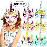 Onshine Rainbow Unicorn Mask for Kid Birthday Party 12pcs Unicorn Party Supplies