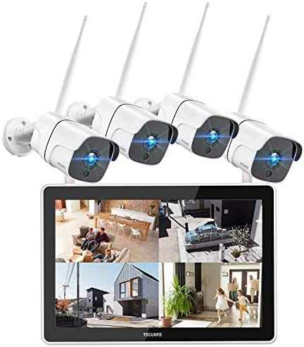 TOGUARD 1080P Wireless Security Camera System with 12 inch LCD Monitor, 8CH NVR 4Pcs WiFi Outdoor Home Surveillance Camera with App Remote, Night Vision, Waterproof, Motion Detection, Email Alert