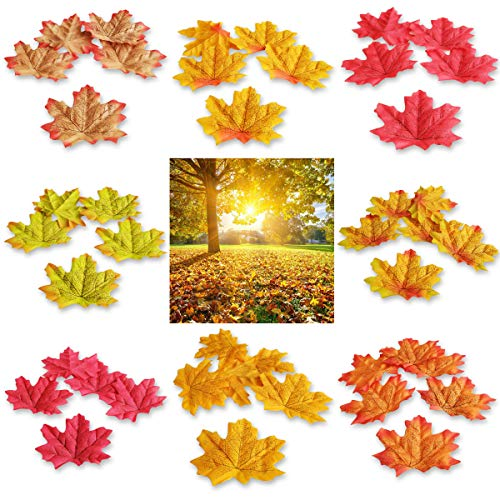 Topspeeder 400 Pieces 8 Colors Artificial Maple Leaves Assorted Mixed Fall Colored Maple Leaves for Weddings, Autumn Party, Events and House Decorating Thanksgiving Christmas Festival Decorations