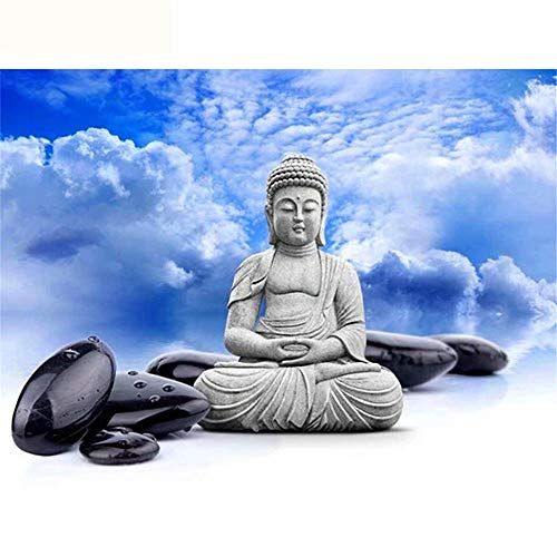 Diy Full Area Round 5D Diamond Painting Black Stone Buddha Statue,Handmade Paste Painting Resin Cross Stitch Kit Home D¨¦cor Wall Decoration (19.7X25.6Inch)(Frameless)