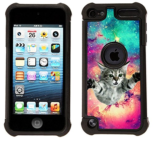 (Corpcase - Hybrid Case for iPod Touch 6 / iPod Touch 5  - Hipster Flying Cat Space Galaxy / Unique Case With Great Protection)