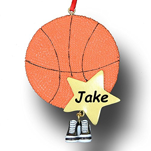 (Personalized Basketball Player Sports Ball and Sneaker Tennis Shoes Hanging Christmas Ornament with Custom Name)