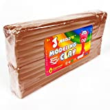 JUGGLEPIE Colorful Modeling Clay for Kids | Bulk Pack of 1.1 Pound Size Brick - Art Toys for Creative Children, Soft and Easy to Mold, Non-Hardening, Non-Toxic and Never Dries Out – Large (Brown)