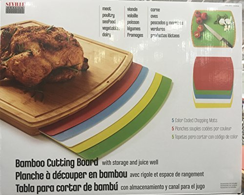 Seville Classics/Bamboo Cutting Board With Mats by Seville Classics