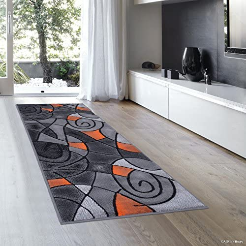 Allstar 2×7 Grey and Gainsboro Grey Modern and Contemporary Runner with Orange and Charcoal Grey Geometric Design 1 11 x 6 11