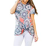 Kinrui women blouse and t-shirt Women Floral Printed Knot Blouse Short Sleeve Casual Loose Tops T Shirt Tunic (Orange, XL)
