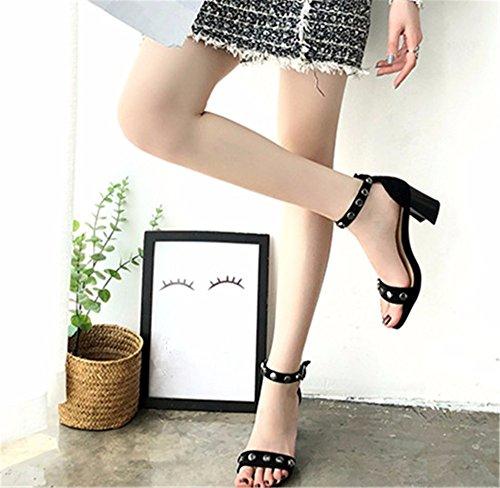Alto tacón Verano de a Toe Nueva Moda YMFIE de Remaches Toe Sandalias Zapatos Simple Damas 1BqA7WOxw