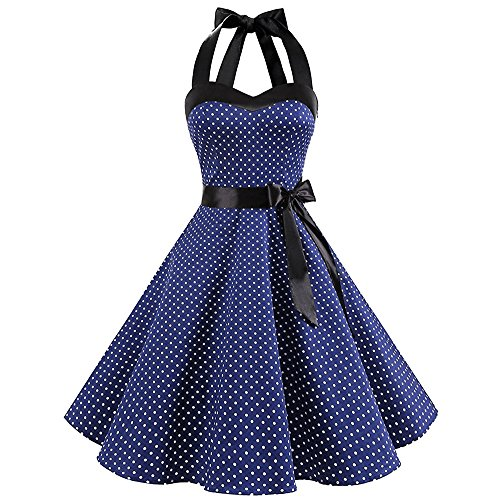 【MOHOLL】 50s Retro Halter Rockabilly Bridesmaid Audrey Dress Cocktail Dress Blue