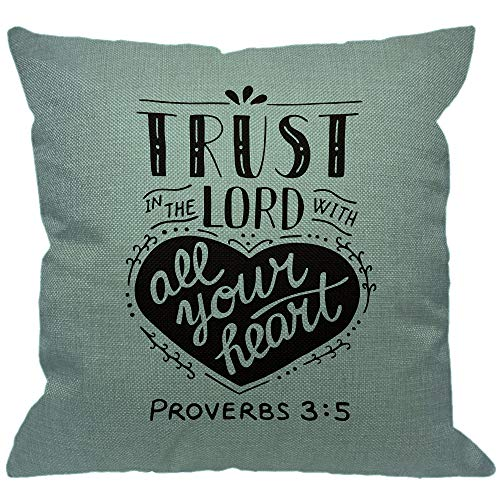 HGOD DESIGNS Christian Lettering Throw Pillow Cover,Biblical Trust in The Lord with Your Heart Jesus Testament Scripture Proverbs Decorative Pillow Cases Cushion Covers for Home Sofa Couch 18x18 inch