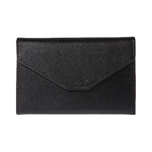 - Colorido Faux Leather Envelope Wallet Travel Passport Card Holder Cash Purse size Medium (Black)