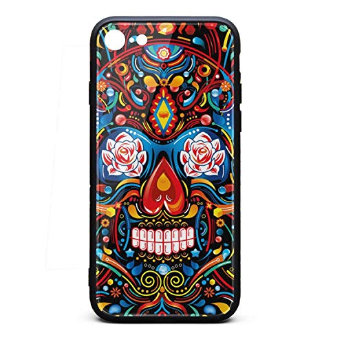iPhone 6 Case iPhone 6S Case Colorful Mexican Skull Halloween Decor 9H Tempered Glass Back Cover Soft TPU Frame Scratch Resistant Shock Absorption Compatible for iPhone -