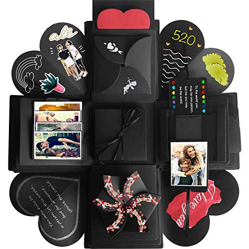 Hannababy Creative Explosion Gift Box, DIY - Love Memory, Scrapbook, Photo Album Box, as Birthday Gift, Anniversary Gifts, Wedding or Valentine's Day Surprise Box (Black) (Best Gift To Boyfriend On Valentines Day)
